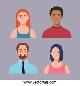 bundle of four persons avatars characters