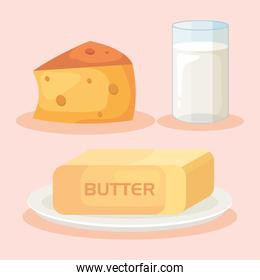 cheese and milk cup with butter icons