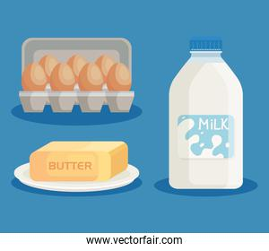 milk products and eggs set icons