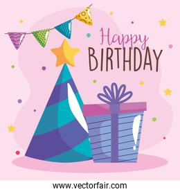 party hat with garlands and gifts celebration icon