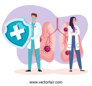 doctors couple with covid19 virus particles in lungs