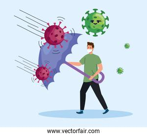 man wearing medical mask with covid19 particles characters and umbrella