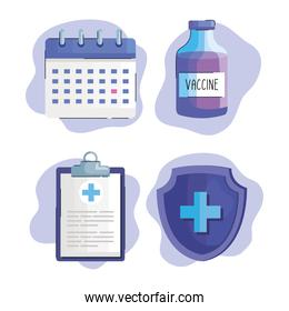 bundle of four vaccine vial bottle and covid19 icons