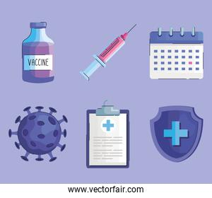 bundle of six vaccine vial bottle and covid19 set icons