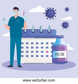 doctor with vaccine vial bottle covid19 and calendar