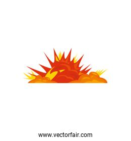 Military explosion in orange yellow and red colors vector design