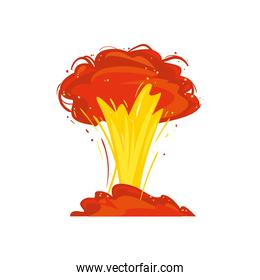 Military explosion in red and yellow colors vector design