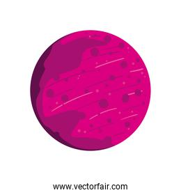Space pink planet with bubbles vector design