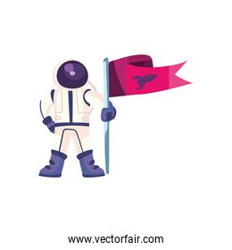 Space astronaut with flag vector design