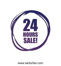 24 hours sale in circle vector design