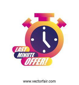 last minute offer with chronometer icon vector design