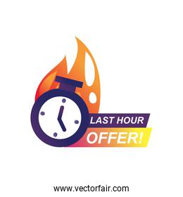 last hour offer with chronometer and flame isolated icon