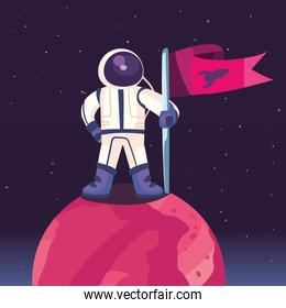 Space astronaut on planet vector design