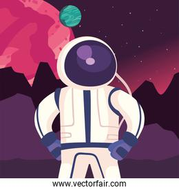 Space astronaut with planets landscape vector design