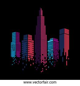 Cityscape of pink and purple buildings vector design