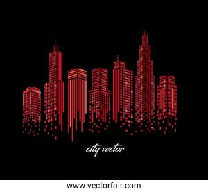 Cityscape of red buildings vector design