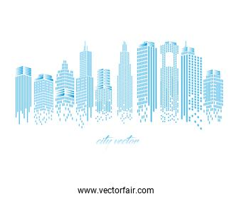 Cityscape of blue buildings isolated vector design
