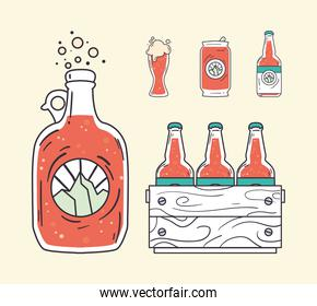 Beer bottles box can and glass vector design