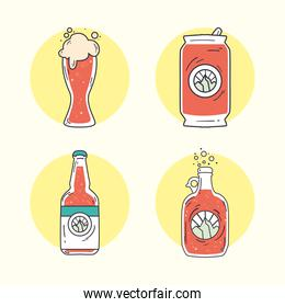 beer glass can and bottles vector design