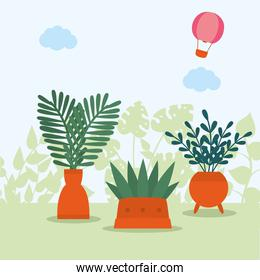 plants and hot air balloon outside vector design