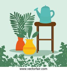 plants and watering can on table vector design