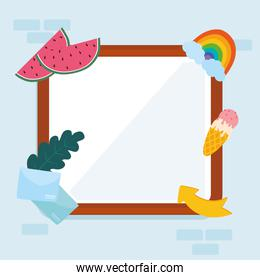 Frame with cute stickers vector design