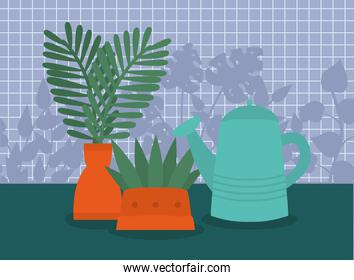 plants and watering can vector design