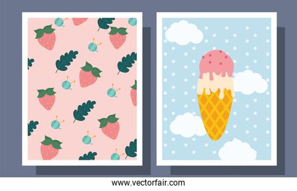 Ice cream strawberries and yarn balls in frames labels vector design
