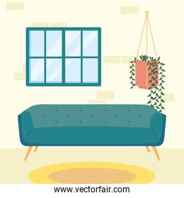 home blue couch window and plant hanging vector design