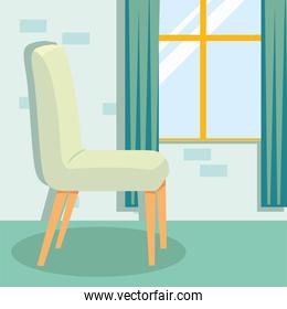 home white chair and window vector design