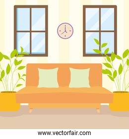 home orange couch windows and plants vector design
