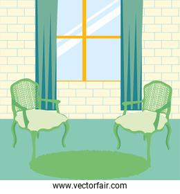 home green chairs and window vector design