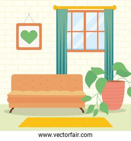 home orange couch window and plant vector design