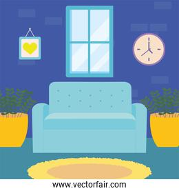 home blue couch window clock and plants vector design