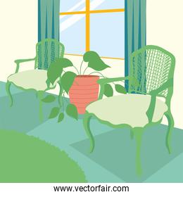 home green chairs window and plant vector design