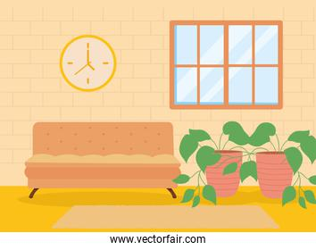 home orange couch window clock and plant vector design
