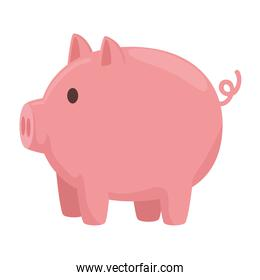 Piggy side view isolated vector design