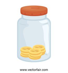 Coins in jar isolated vector design
