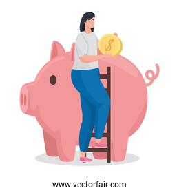 Save money of woman holding coin with piggy vector design