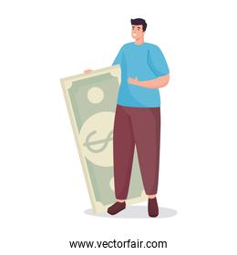 Save money of man holding bill vector design