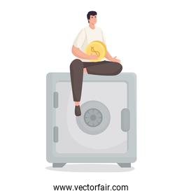 Save money of man holding coin on strongbox vector design