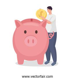 Save money of man holding coin with piggy vector design
