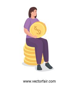 Save money of woman on coins vector design