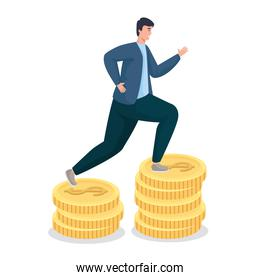 Save money of man on coins vector design