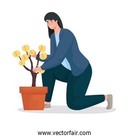 Save money of woman with coins plant vector design