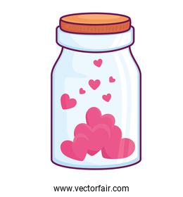 Hearts in jar isolated vector design