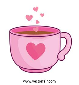 Love coffee cup with heart vector design