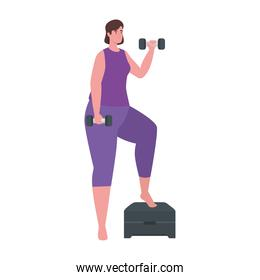 Woman lifting weights with step vector design