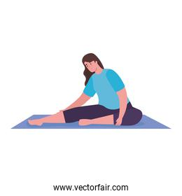 Woman stretching on mat vector design