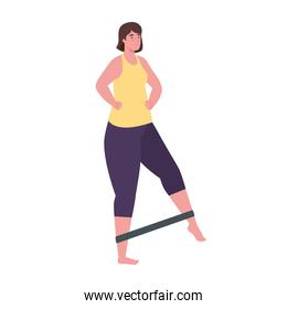 Woman doing exercise with elastic rope vector design